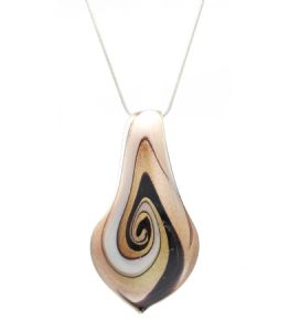 Distinctive Decorative Black Brown Gold Venetian Murano Glass Teardrop Shaped  Pendant / Necklace